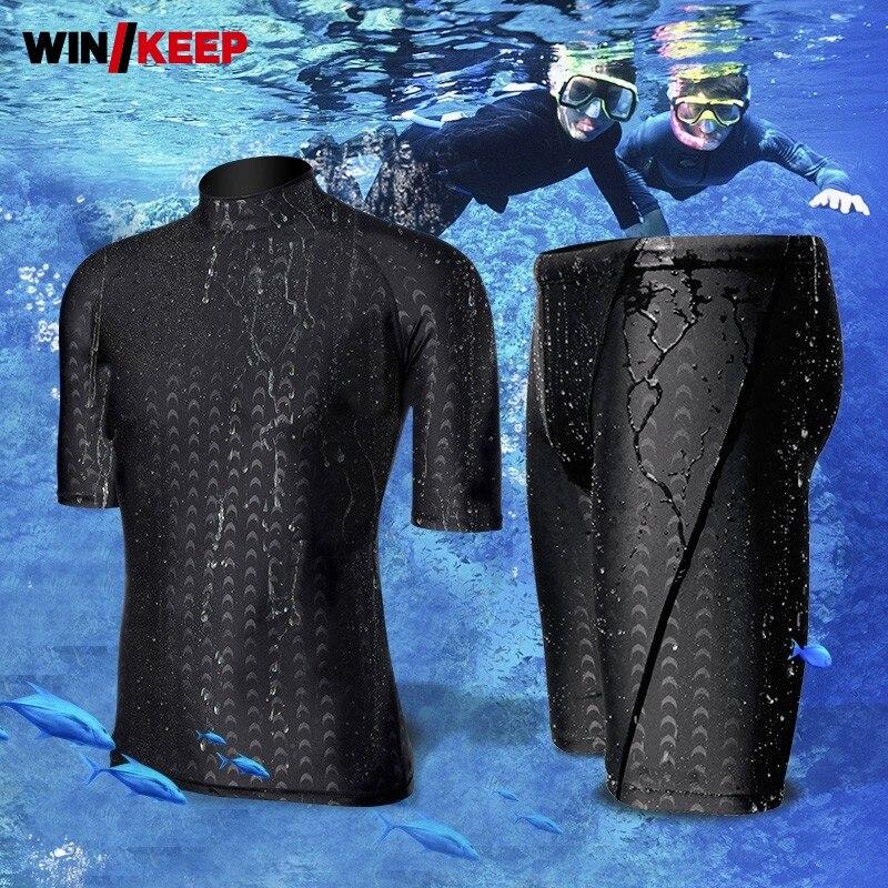 Ensembles de vêtements de sport de plage pour hommes combinaison de plongée en apnée manches courtes maillot de bain survêtement de surf protection solaire