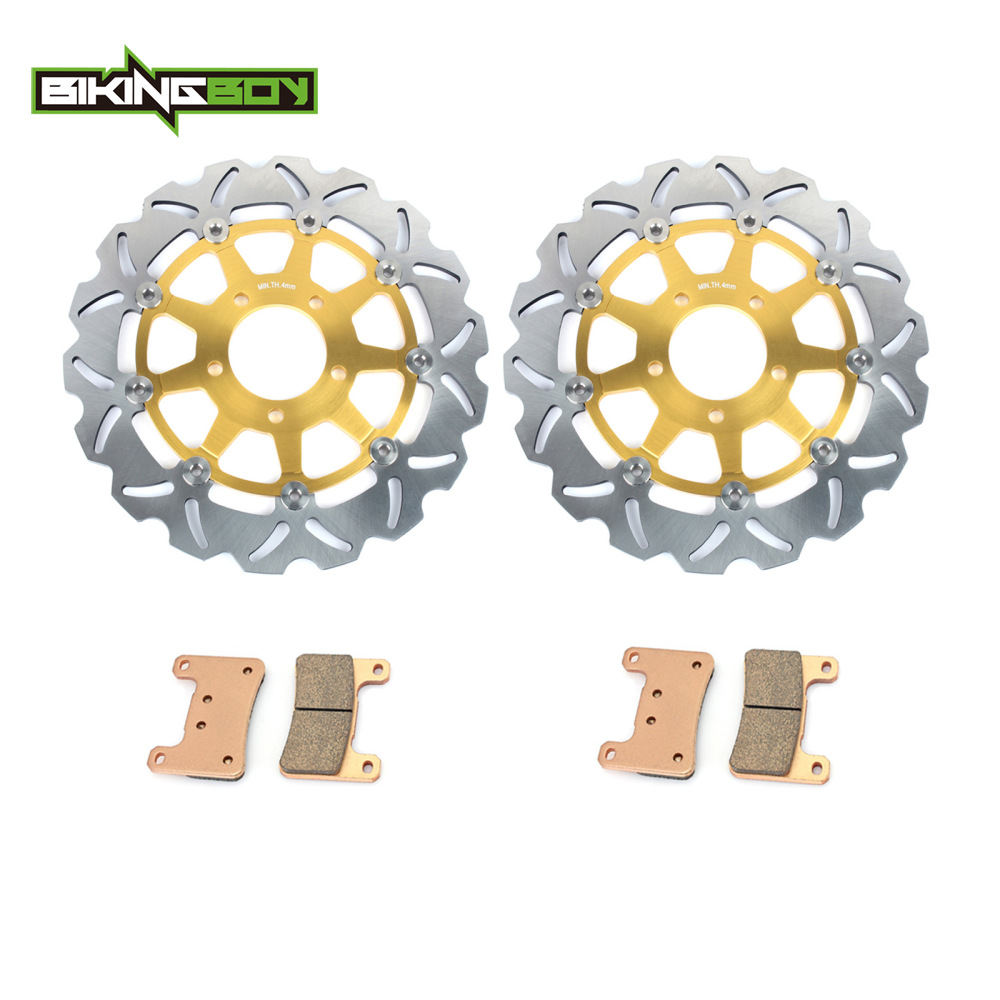 BIKINGBOY Front Brake Discs Disks Rotors Pads For Suzuki GSXR 1000 04 GSX-R 600 750 2004 2005 K4 K5 05 Wave Round Black Gold Set(China)