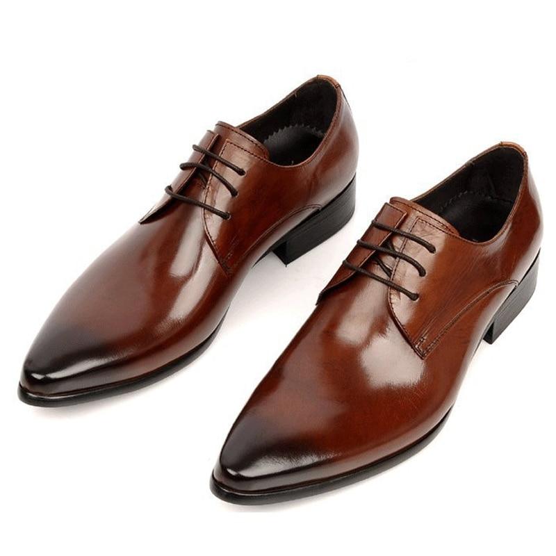 51797937e94844 2017 Formal Men's Dress Wedding Shoes Genuine Leather Black/Brown Lace Up  Basic Flats For Men Office Size:6 10 Luxury Designer on Aliexpress.com    Alibaba ...