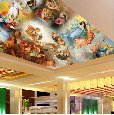 Free Shipping living room ceiling European Hotel Western Painting Wallpaper ceiling Angel non-woven wallpaper mural  free shipping large mural wallpaper villa living room ceiling european oil painting wallpaper