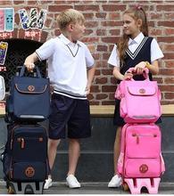 Mochila infantil com rodas para viagem, bolsa para bagagem das crianças com rodas