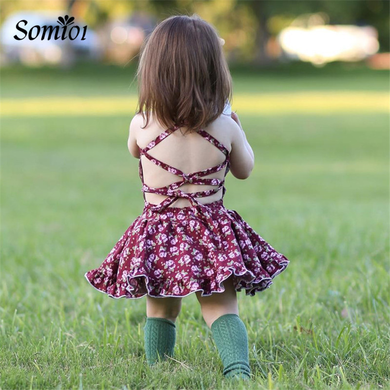 Toddler Girls Summer Cotton Dress Baby Girl Dresses Floral Strap Backless Dress Kids Princess Dress Vintage Flower Clothing