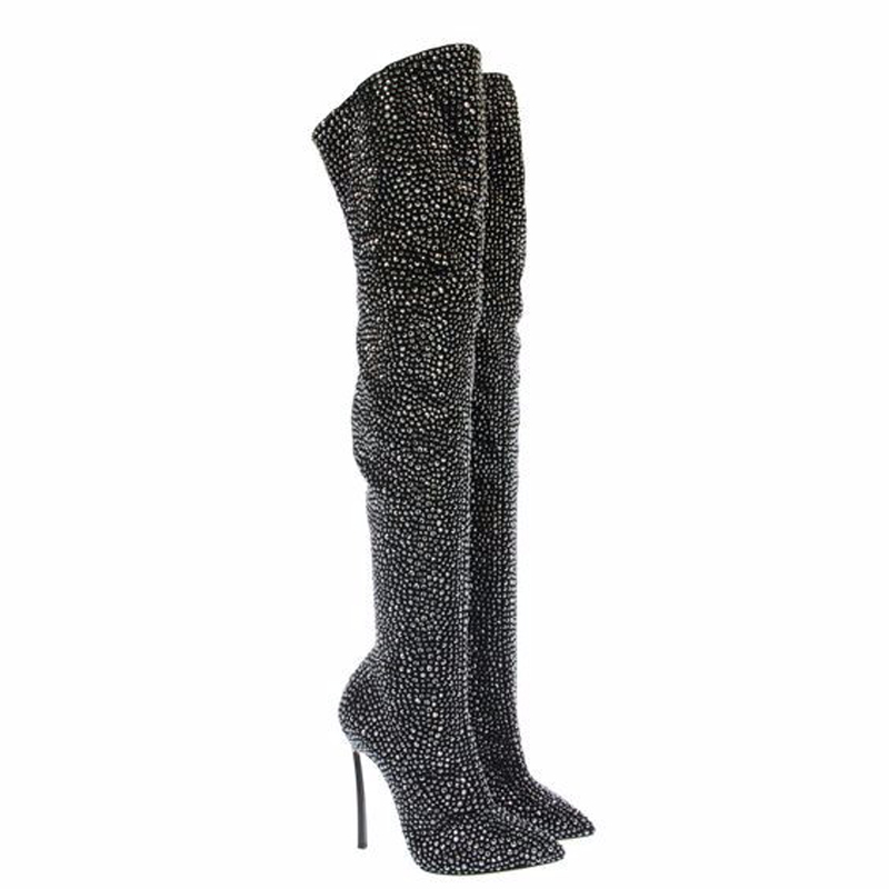 Gorgeous PU Slim Thigh High Over the Knee Boots Crystal Decoration High Heels Women Pointed Toe Sexy Party Boots