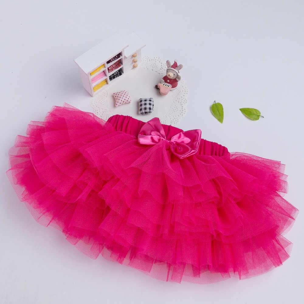 Pettiskirt Del Bebé Niñas Falda Del Tutú de 3 Colores Rosa Rojo Recién Nacido de Gasa 6 capas Faldas Infantiles Niñas Ropa de Fiesta de Cumpleaños
