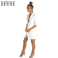 HYH HAOYIHUI Solid White Color Belt Blazer Notched Ladies Long Sleeve Suit Blazer Elegant Office Women