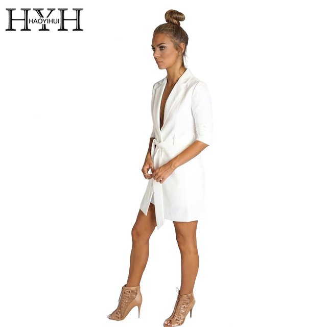 HYH HAOYIHUI Solid White Color Belt Blazer Notched Ladies Long Sleeve Suit Blazer Elegant Office Women Autumn Blazer