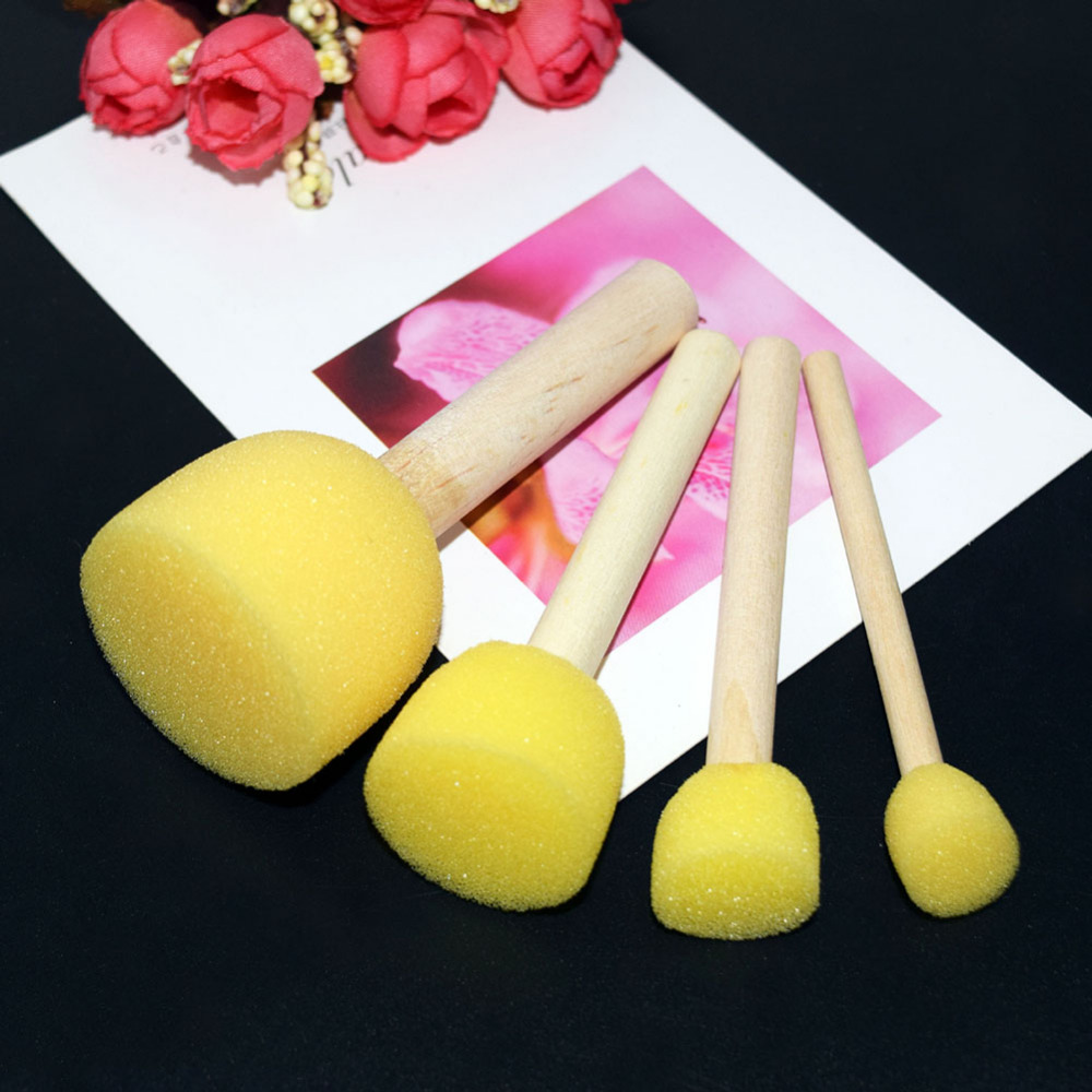 4Pcs Set Children Drawing Toys Small Wooden Stick Mushroom Head Painting Toys Sponge Toys Interesting DIY Painting For Baby Kids