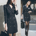 Excellent quality double breasted striped slim coat women new 2016 autumn winter fashion woolen blazer coat free shipping