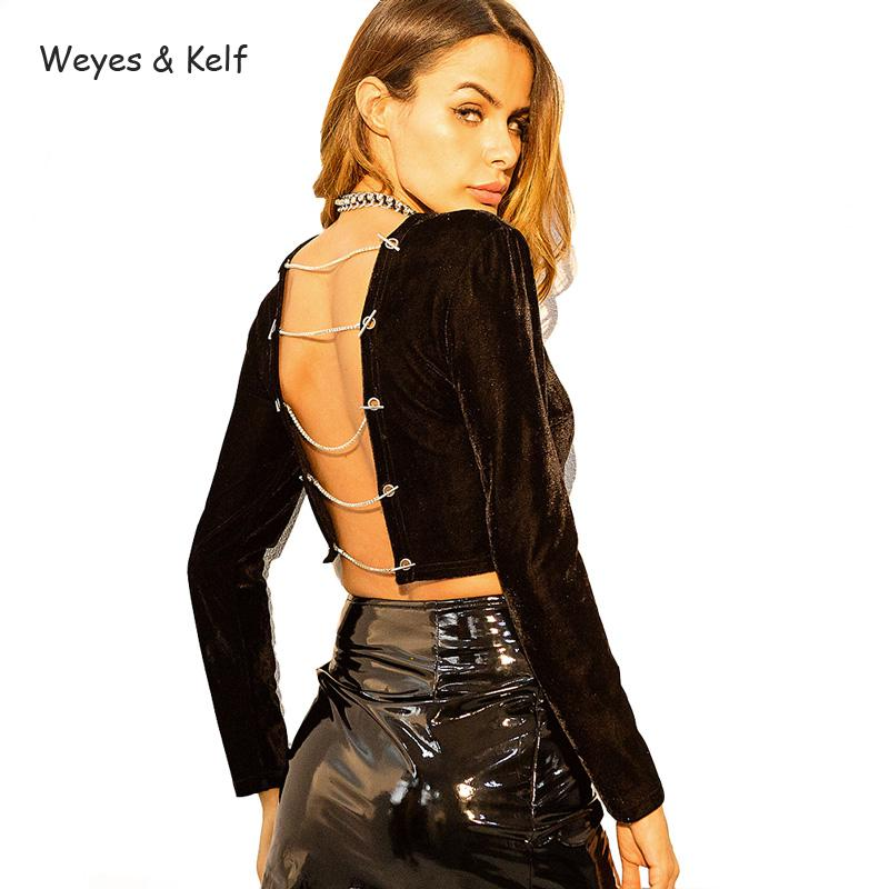 Weyes & Kelf Sexy Backless Velvet T shirt Women For Spring 2018 Hollow Out Long Sleeve T shirt Female Black Crop Tops Women Tee