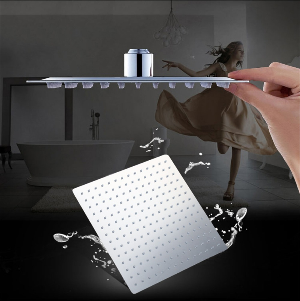 Bathroom Wall Mounted Shower Head Chrome Brass Handheld Shower Set Bathroom Faucets Ultra-thin Panel Rainfall Cold&Hot Water tap