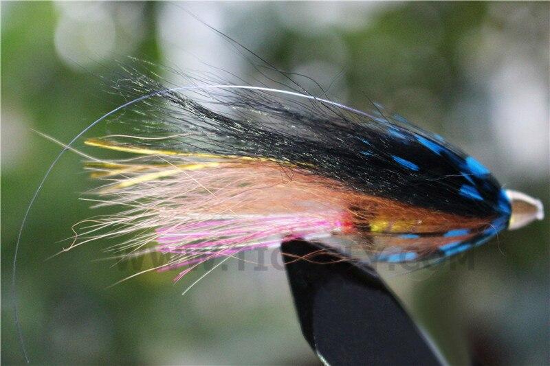 Tigofly 24 Pcs Blue&Black Feather Cone Head Tube Flies Salmon Trout Steelhead Fly Fishing Flies Lures
