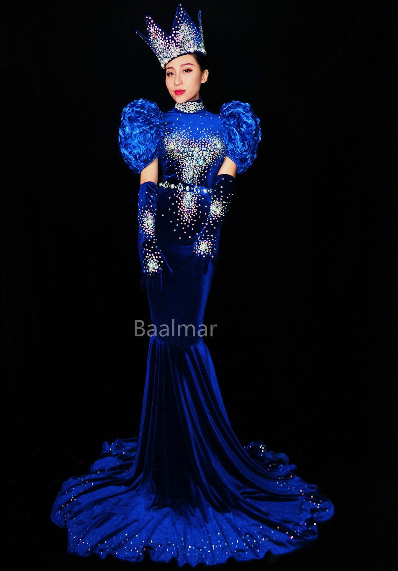 Sparkly Rhinestones Blue Long Dress Glisten Full Stones Big Floor Tail Dress Nightclub Costume Prom Birthday Celebrate Dresses