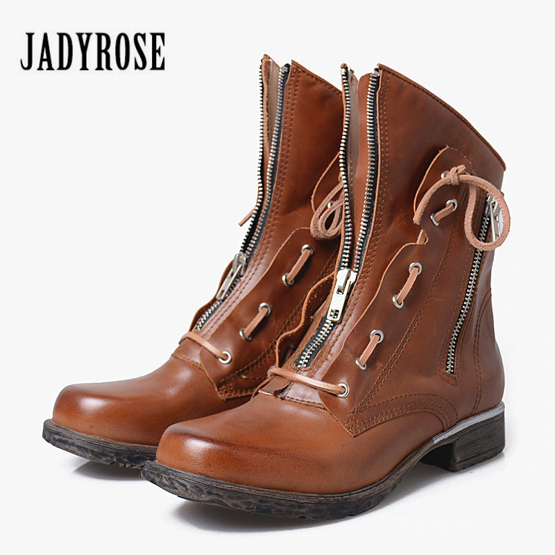 Jady Rose British Brown Women Ankle Boots Autumn Winter Short Booties Genuine Leather Platform Rubber Shoes Woman Botas Mujer front lace up casual ankle boots autumn vintage brown new booties flat genuine leather suede shoes round toe fall female fashion