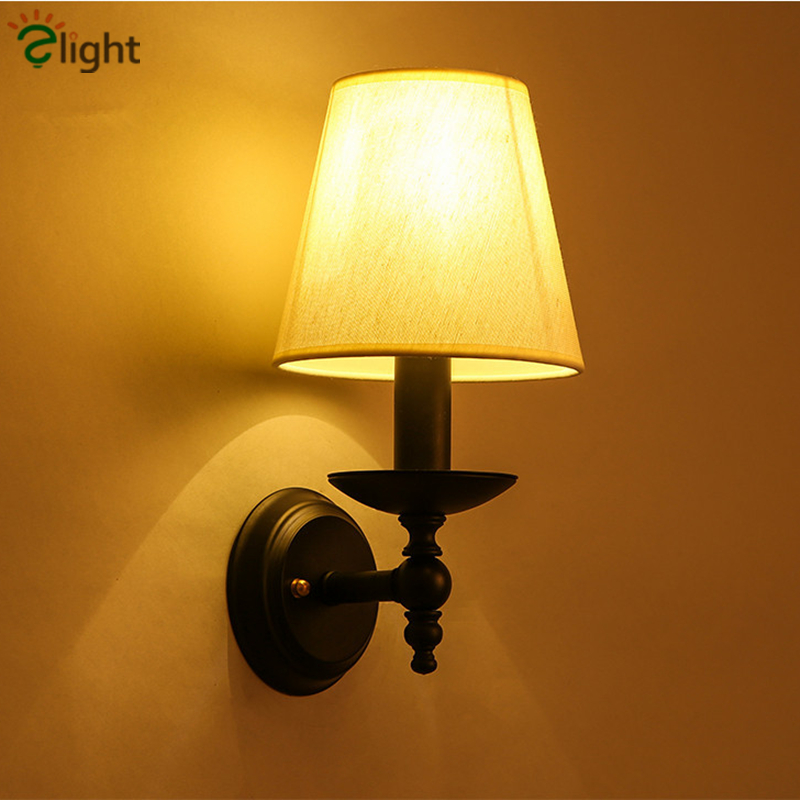 Simple Fabric Tall Wall Light: American Retro Iron Led Wall Lamp Simple Fabric Bedroom