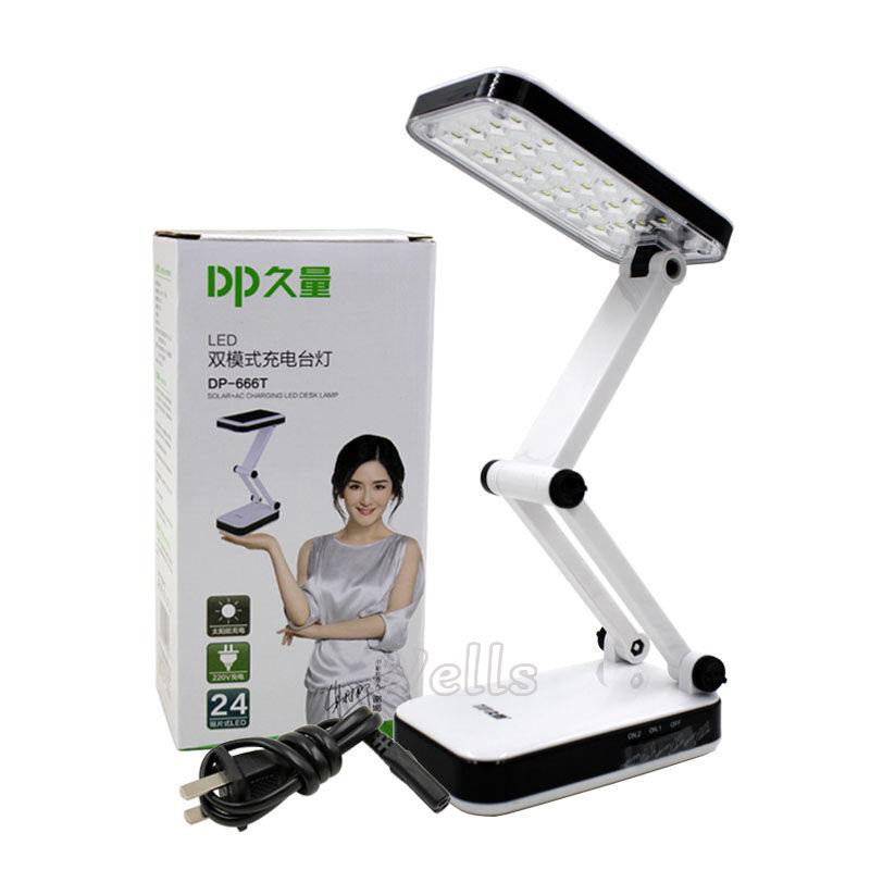 led Table Lamp DP Solar battery rechargeable foldable and Adjustable Desk Lamps With 24 LED Reading Charge lamp AC220V Desk Lamps     - title=