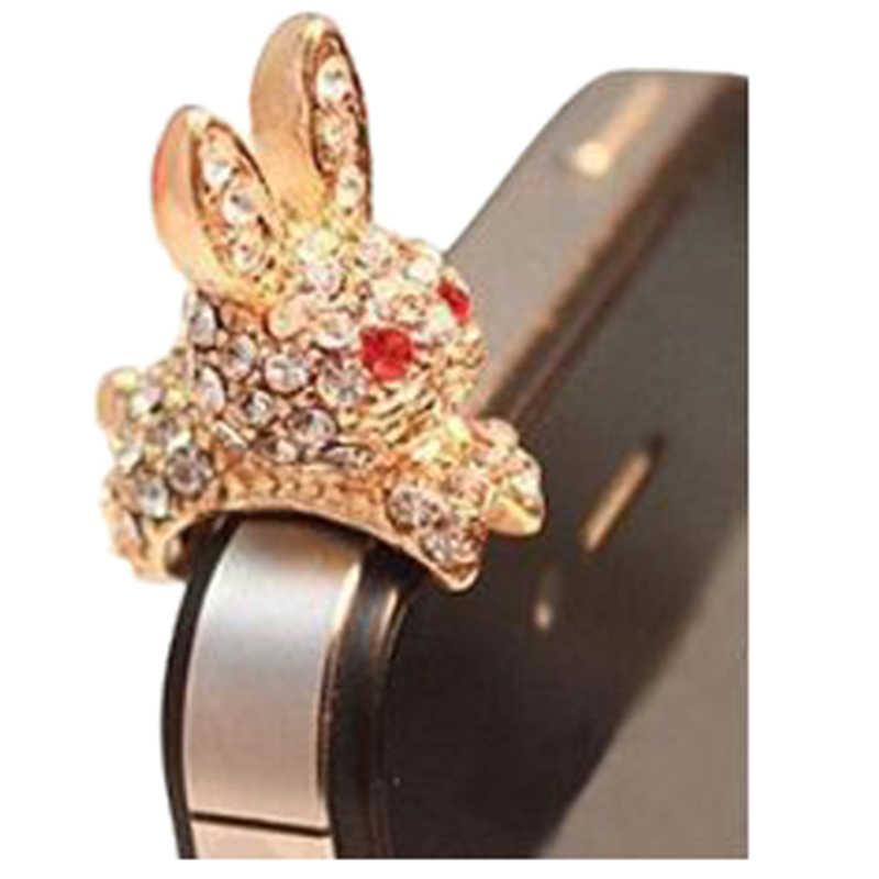Кролик 3 5 мм Кристалл Анти пылезащитный Разъем Bling разъем для наушников Блестящий