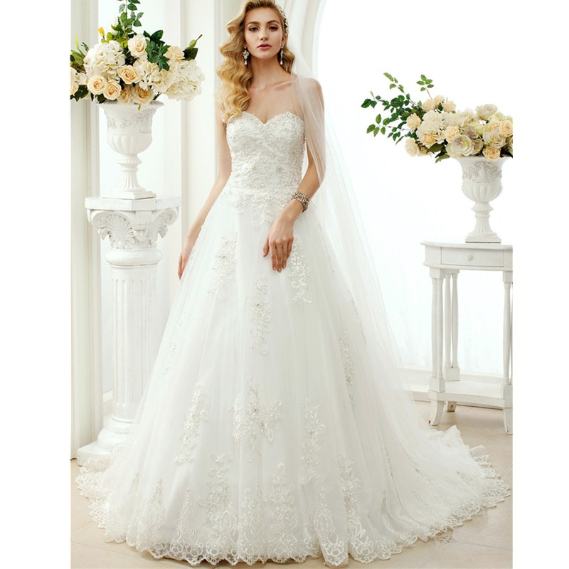 LAN TING BRIDE A-Line Princess Sweetheart Chapel Train Lace Tulle Custom Wedding Dresses with Beading Appliques