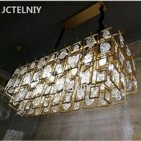 Новый Кристалл медная люстра роскошные золотые столовая лампа гостиной прямоугольная лампа Отель личности декоративные светодиодный ламп