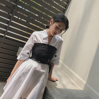 Spring Autumn Women Novelty Personality Izp V Neck Half Sleeve White Shirt Dress Irregular Waist Seal