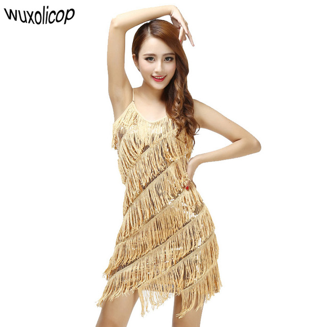 Woman 1920s Vintage Great Gatsby Party Sequin Dress Y V Neck Summer Cami Gold