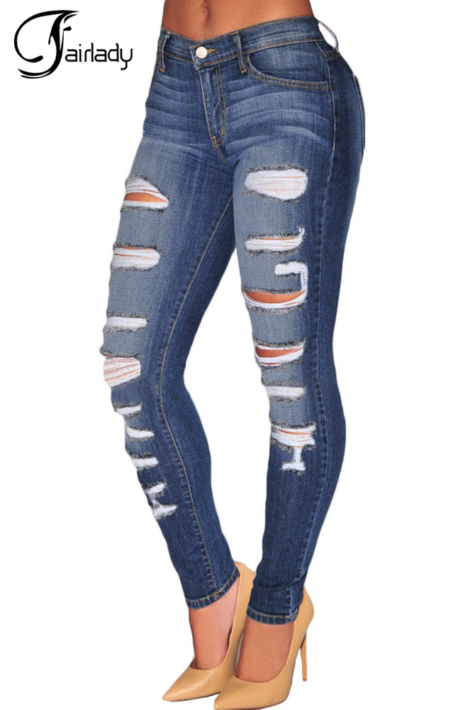 ФОТО 2016 Spring Fashion Stretch Denim pants Destroyed Whisker Wash Skinny Distressed Jeans Women Ripped Pants