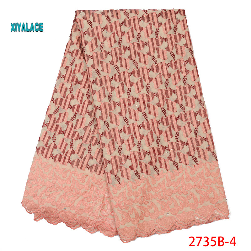 Nigerian African Lace Fabrics Swiss Voile Lace 2019 High Quality French Stones Voile Lace Switzerland For Wedding YA2735B-4