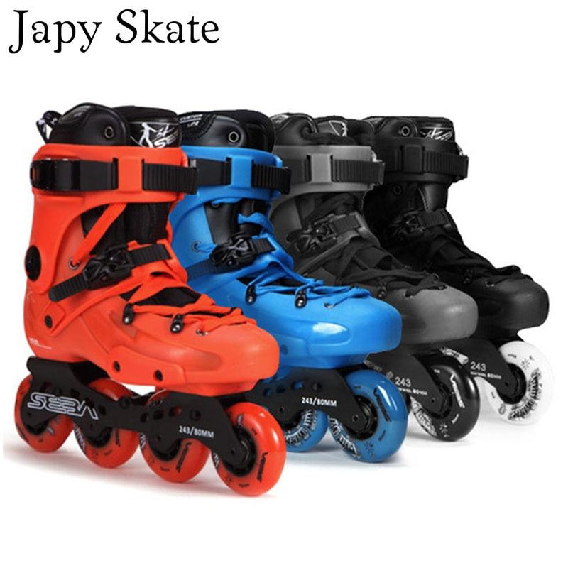 Japy Skate 100% Original SEBA FR1 Inline Skates Street Free Style Roller Skating Shoes FSK Skates Slalom Sliding Patines Adulto 8pcs 88a inline skate wheels with ilq 11 bearing 80mm braking slalom free skating sliding roller for seba patines tires japy