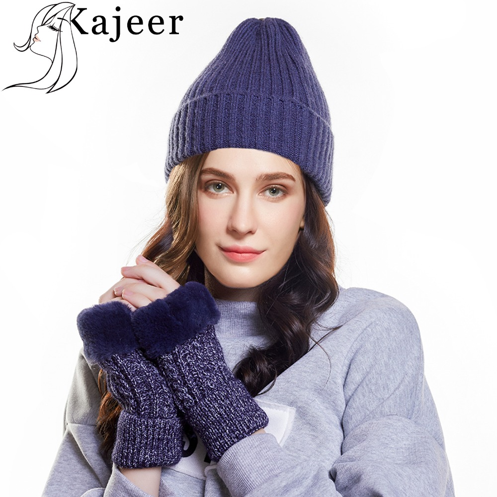 Wool Knitted Women's Soft Fur Gloves Winter Warm Set 2pc Skullies Set Thick Cotton Beanies Female Knitted Fashion Women Winter