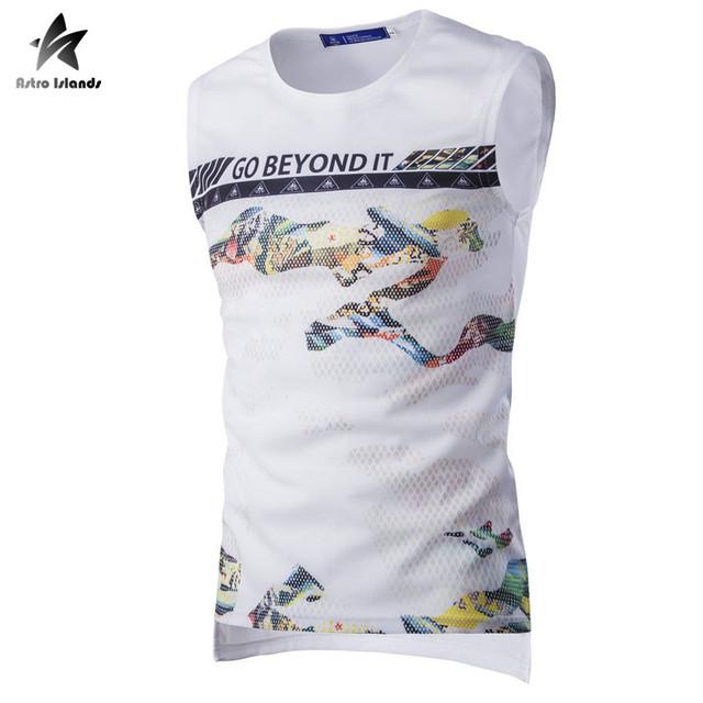 2017 malha respirável mens regatas camisa sem mangas colete carta moda cor pintura imprimir clothing marca mens casual lw382