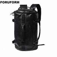 Mens Military PU Leather Backpacks Multi purpose Bucket Travel Bag Large Shoulder Bags Men Army Tourist Foldable Hand Bag LI2468