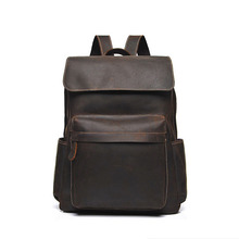 Original Design Men Vintage Casual Handmade Flap Daypack Large Capacity Laptop Travel Bag Cowhide Genuine Leather Backpack 8030