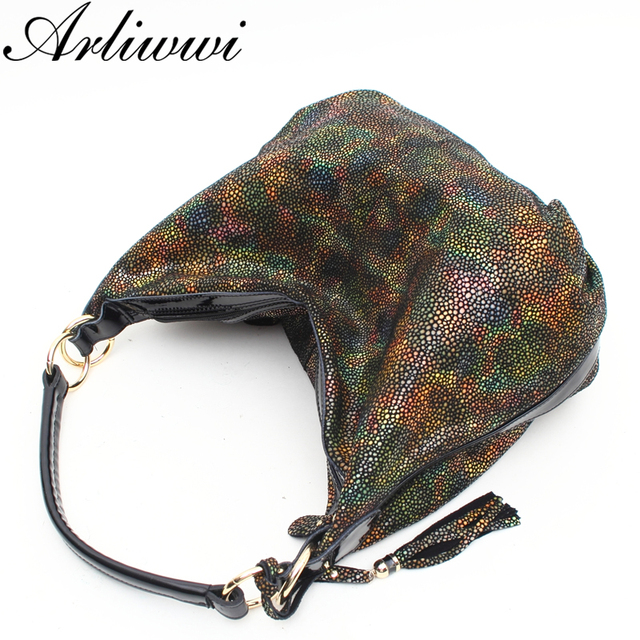 Arliwwi Brand Individual Graceful Rainbow GENUINE LEATHER Shoulder Bags For Women Romantic Star Effect Casual Style Handbag