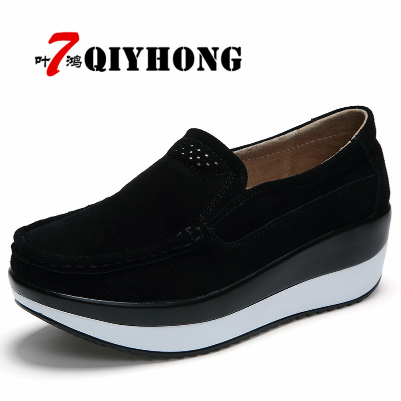 QIYHONG Women Flat Platform Loafers Ladies Elegant   Suede     Leather   Moccasins Shoes Woman Slip On Moccasin Women Black Casual Shoes