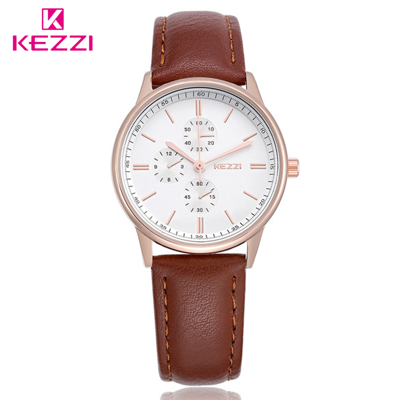 KEZZI Watch Women Brand Luxury Fashion Casual Quartz Watches Leather Sport Lady Relojes Mujer Female Wristwatch Girl Dress Clock 2017 luxury brand watch fashion rose gold girl watches women fashion casual quartz ladies wristwatch reloj mujer clock relojes