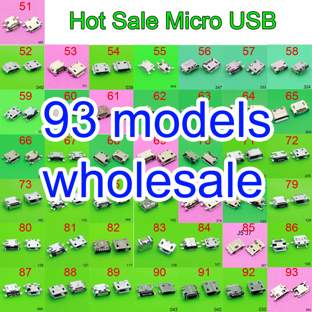 93 model Hot sale Charging Connector micro usb jack for Samsung ASUS SONY HP HTC ZTE Huawei Xiaomi Redmi Lenovo OPPO Meizu etc.