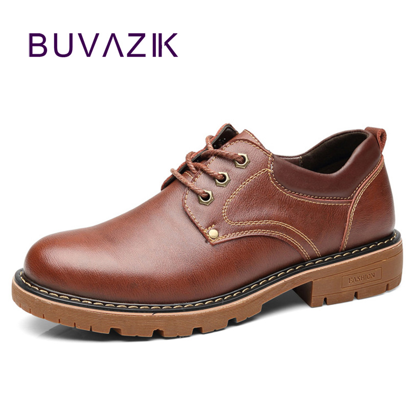 BUVAZIK genuine leather casual shoes men fashion and comfortable lace-up oxfords handmake simple men shoes simple men s casual shoes with criss cross and color block design