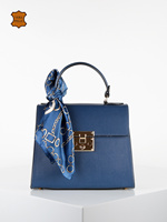 Leather hand bag blue