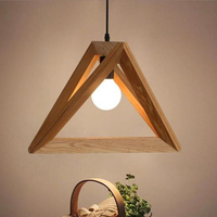 Oobest Modern Triangle Pendant Lamp Wood Ceiling Light Corridor Bedroom Bars Decor Dining Room Living Room