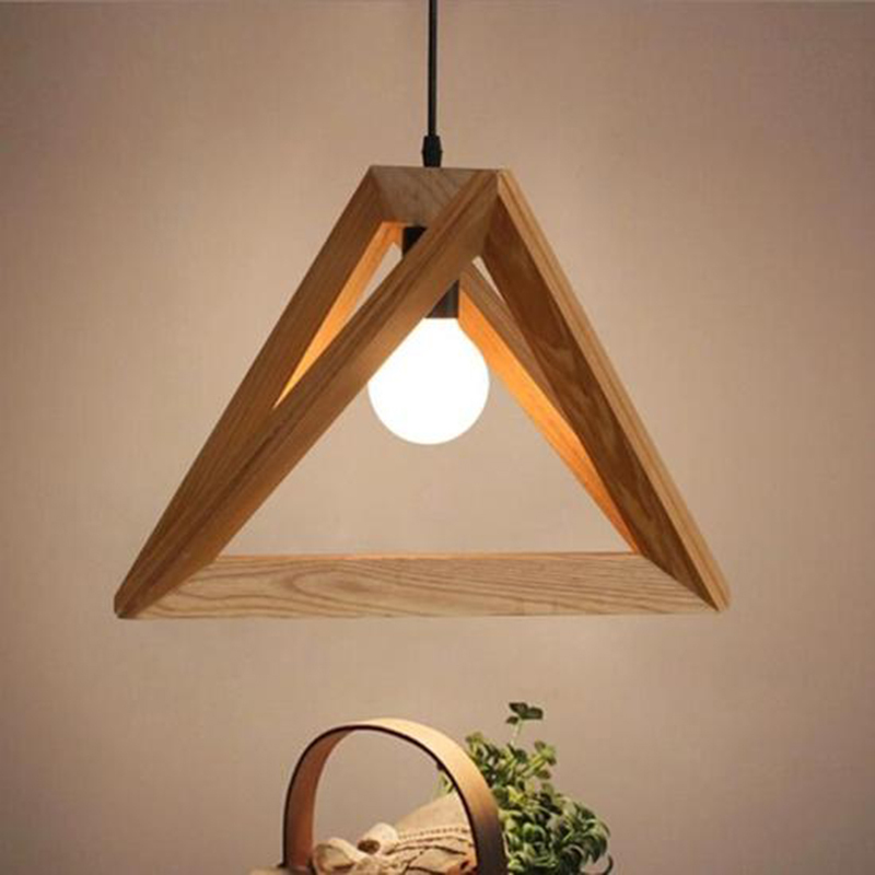 oobest Modern Triangle Pendant Lamp Wood Ceiling Light Corridor Bedroom Bars Decor Dining Room Living Room Clubs Lighting Lamp a1 master bedroom living room lamp crystal pendant lights dining room lamp european style dual use fashion pendant lamps