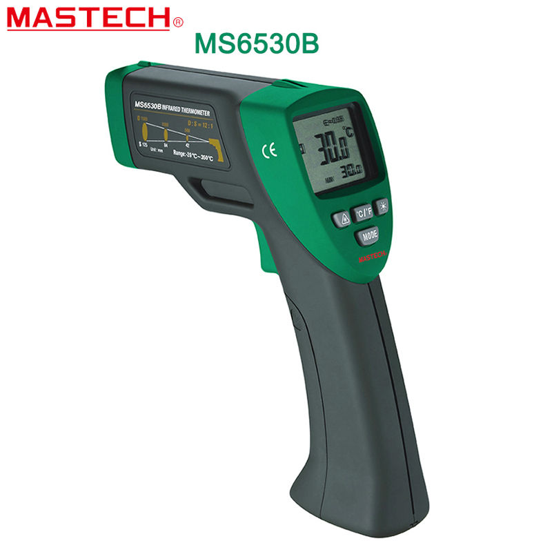 Infrared Thermometer MASTECH MS6530B Digital Non-contact Infrared Thermometer IR Meter 12:1(D:S) with Laser Sighting and Backlit t010 new digital temperature meter tester mastech ms6520a laser pointer non contact infrared ir thermometer free shipping