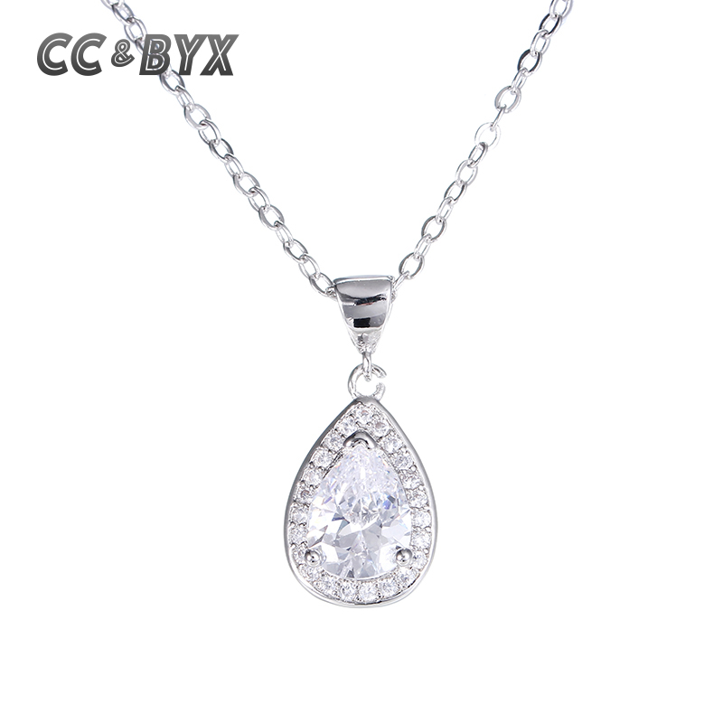 Luxury shine water drop shape pendants necklace for women party wedding best  Valentine's Day gift CCN003