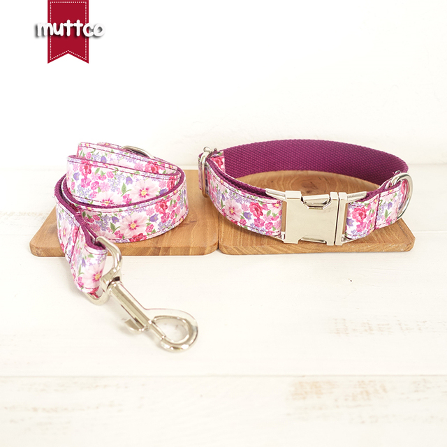20pcs/lot MUTTCO wholesale individual handmade arresting dog collar THE PURPLE FLOWER print dog collars and leashes set 5 sizes