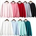 2016 Otoño Invierno Solid Mujeres Harajuku Sudaderas Con Capucha Fleece Suéter con Capucha Floja del O-cuello de Manga Larga Camiseta Ocasional LQ162