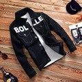 Homens jaqueta jeans jaqueta jeans casacos de outono e inverno dos homens preto 2017 vintage clothing casaco jeans de manga comprida masculina casual