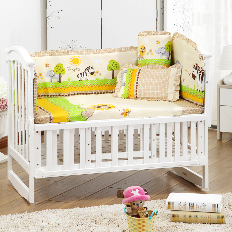 Kingtoy Newborn Baby sengetøj sæt Cartoon krybbe seng Sheet100% bomuld Infant Room sengetøj inkluderer pude bumpers mattres