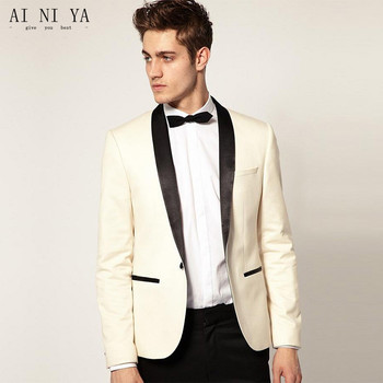 Custom Made Mens Suits Slim Fit Groom Wedding Tuxedos Jacket Pants terno masculino Best Man Suit 2 Piece Satin Shawl Lapel