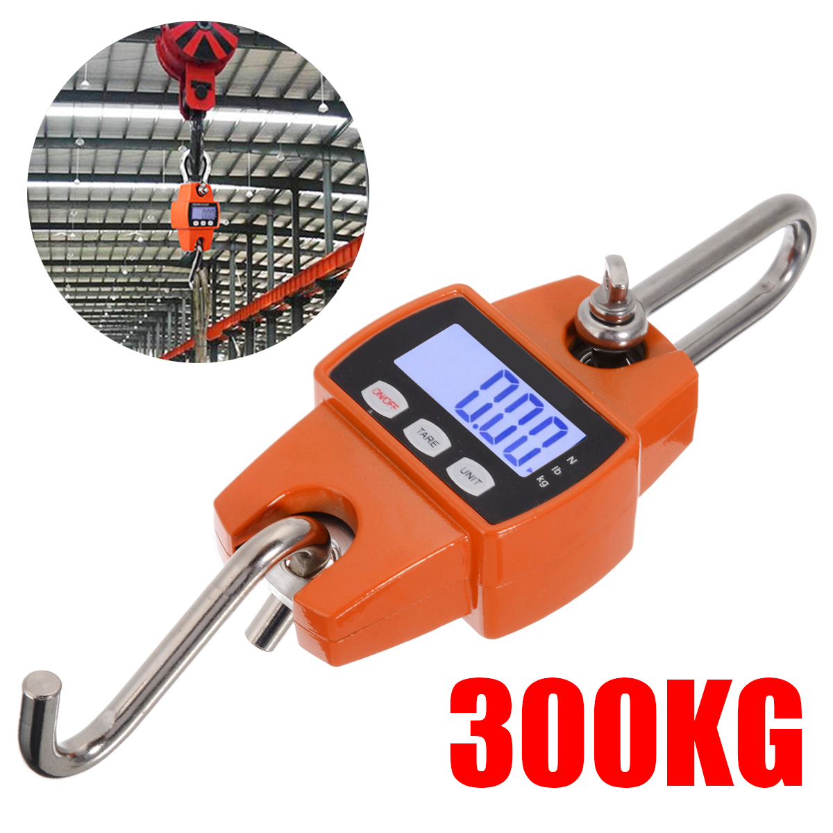 1pc 300kg/600lb LCD Electronic Scale Portable Digital Industrial Crane Scale Heavy Duty Hanging Weighing Hook Scales Baggage