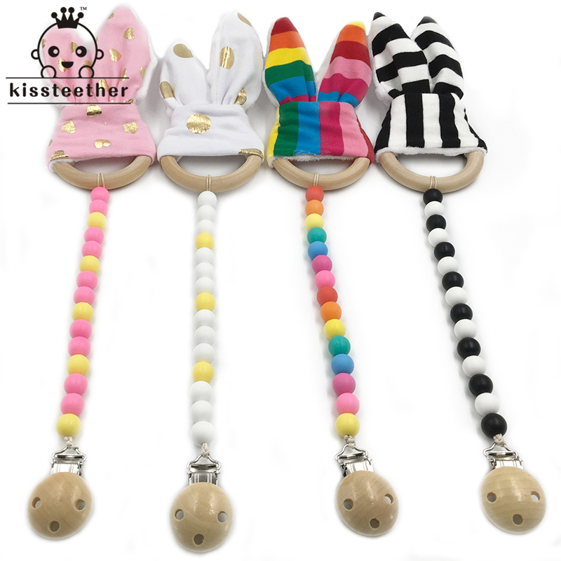 4pc Baby Wooden Pacifier Clip Teether Toy Food Grade Silicone Beads Wood Ring Bunny Ear Toddler Teething Nursing Newborn Teether