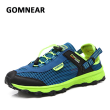 GOMNEAR Summer Mesh Hiking Shoes Men Breathable Non-slip Sneakers Climbing Camping Fishing Sports Shoes Blue Trail Water Sandals