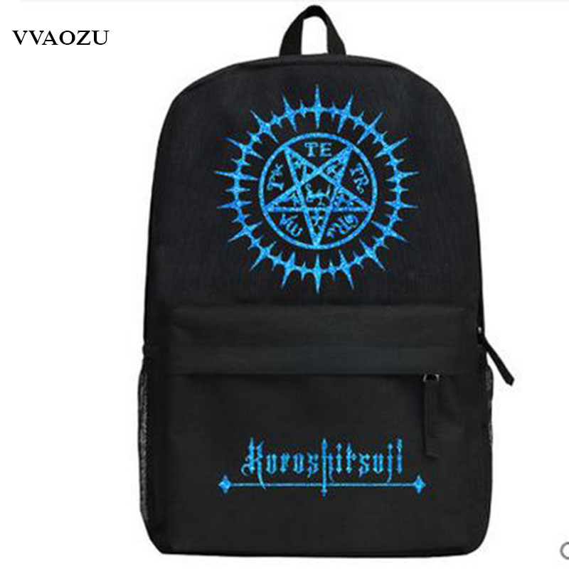 High Quality Black Butler Kuroshitsuji Cosplay Sebastian Ciel Oxford Backpack Travel Bag Schoolbag Bookbag anime kuroshitsuji black butler ciel phantomhive short straight gray and blue mixed synthetic hair ponytails cosplay party wig